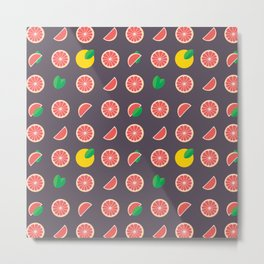 Abstract red yellow purple grapefruits pattern Metal Print