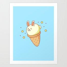 Bunny-lla Ice Cream Art Print