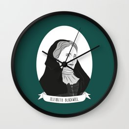 Elizabeth Blackwell Illustrated Portrait Wall Clock