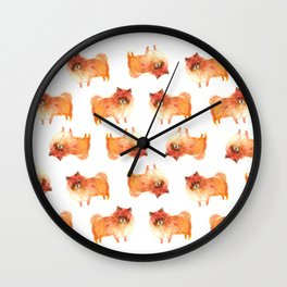 Pomeranian, pom puppy Wall Clock