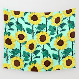 Sunny Sunflowers - Mint Wall Tapestry