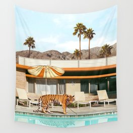 Pool Party Tiger Wall Tapestry