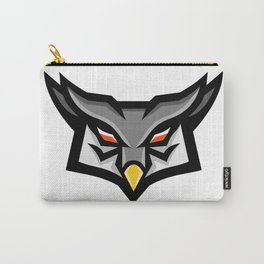 Angry Horned Owl Head Front Mascot Carry-All Pouch