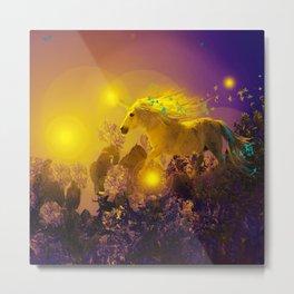 Unicorn In The Night Of Glow - My Fantasy Garden #decor #society6 #buyart Metal Print