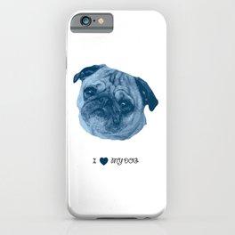 I love my dog - Pug, blue iPhone Case