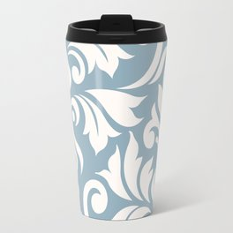 Flourish Damask Art I Cream on Blue Travel Mug