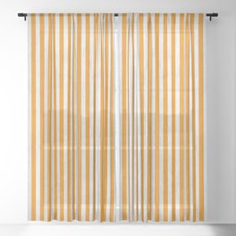 Stripes Collection: Orange & Cream Sheer Curtain