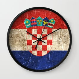 Vintage Aged and Scratched Croatian Flag Wall Clock
