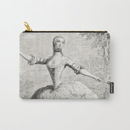 The Dancers, 18th century French ballet woman, black white drawing Carry-All Pouch