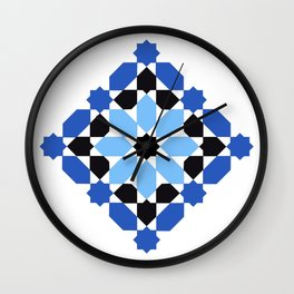 Zellige -black and blue  Wall Clock