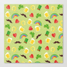 Irish, Saint Patricks day, Rainbow, mustache, Shamrock, ireland, irish gift, irish gifts women Canvas Print