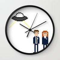 dana scully Wall Clocks featuring Mulder & Scully by Evelyn Gonzalez