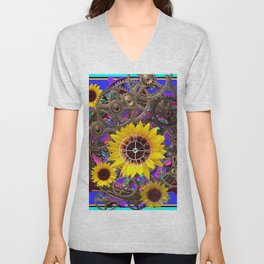 CONTEMPORARY  YELLOW SUNFLOWER CLOCK PURPLE ARTWORKS Unisex V-Neck