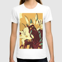 Spring is coming. Abstract vector image of beautiful lilies T-shirt