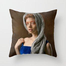 Playful Girl Throw Pillow