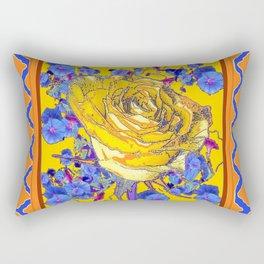 CORAL & BLUE LATTICE & YELLOW ROSE BLUE MORNING GLORY FLOWERS Rectangular Pillow