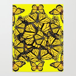 YELLOW MONARCH BUTTERFLY DOG PILE OF WINGS Poster
