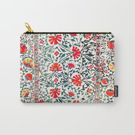 Floral Pattern Tapestry II // 18th Century Colorful Green Yellow Orange Red Mint Blue Flower Design Carry-All Pouch