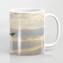 Sporty young woman jumping outdoor morning clouds background, Athlete Woman jump beautiful sunrise m Coffee Mug