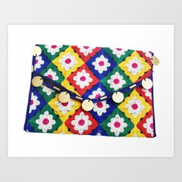 Indian Bohemian Clutch Bag in Floral Embroidery Art Print
