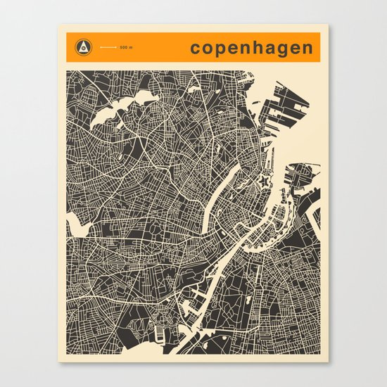 COPENHAGEN MAP Canvas Print