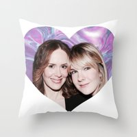 sarah paulson Throw Pillows featuring Sarah Paulson and Lily Rabe AHS Freakshow by IrasHorrorStory
