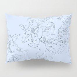 blue line art flower pattern Pillow Sham