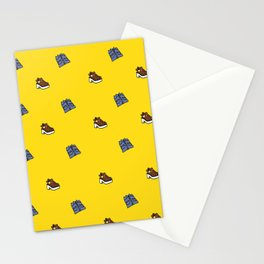 Shirt & Shoe Repeat Pattern-Yellow Stationery Cards