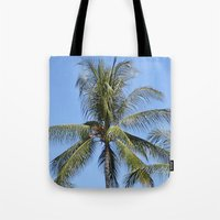 indonesia Tote Bags featuring Palm (Bali, Indonesia) by Christian Haberäcker - acryl abstract
