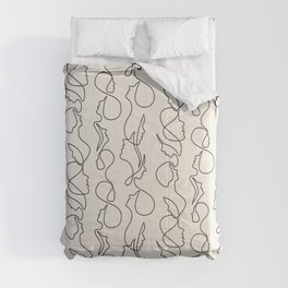 aria flowing faces - black on cream Comforters