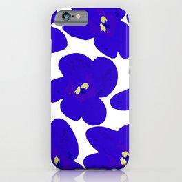 Blue Retro Flowers iPhone Case