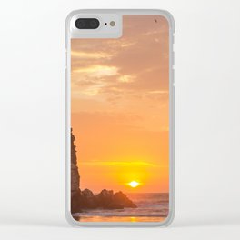 Couple Playing at Sunset Clear iPhone Case