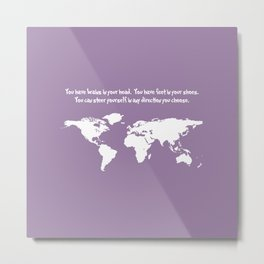 World Map with Dr. Seuss Quote Metal Print