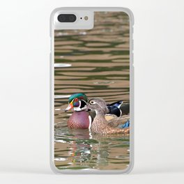 Wood Ducks Love Clear iPhone Case