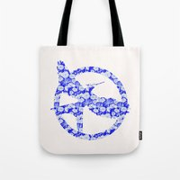 mockingjay Tote Bags featuring Mockingjay - Floral by Elisa Gordon