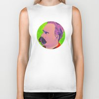 nietzsche Biker Tanks featuring Colorful Nietzsche by TheMessianicManic