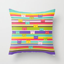 Colorful Peeking Cats on stripes Throw Pillow