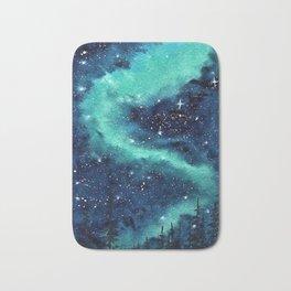 Northern Lights galaxy watercolor landscape painting Bath Mat