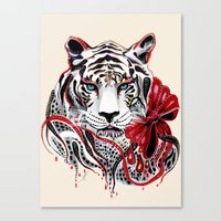 tiger Canvas Prints featuring White Tiger by Felicia Cirstea