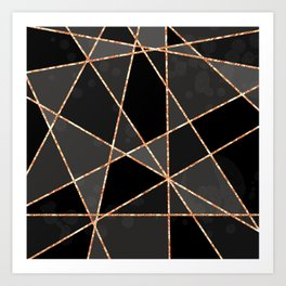 Black and grey shapes with orange lines Art Print