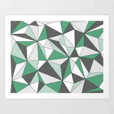 Geo - green, gray and white. Art Print