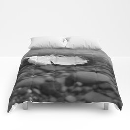 White Feather Floating on Water Comforters