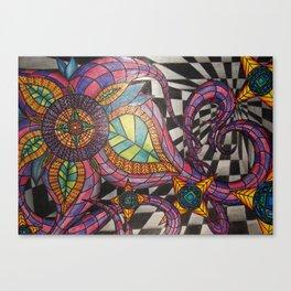 Optical Illusion Flowers Canvas Print
