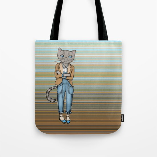 Hipster Kitty Cool Tote Bag