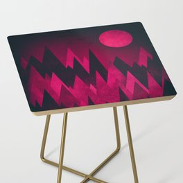 Dark Triangles (Peak Woods) Abstract Grunge Mountains Design (red/black) Side Table