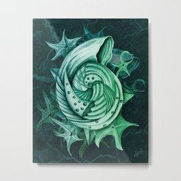 Dystopian Conch - Lambent Green Metal Print
