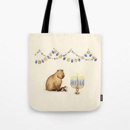 Capy Hanukkah - Capybara and Menorah Tote Bag
