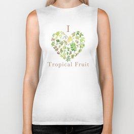 Tropical Fruit Love Heart Biker Tank