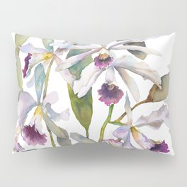 Cattleya Orchid White and Purple with Goldfish Muted Pallet Botanical Design Pillow Sham