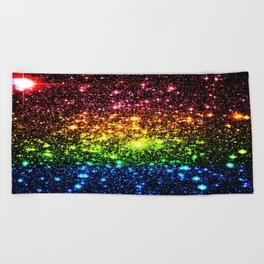 Rainbow Sparkle Galaxy Stars Beach Towel